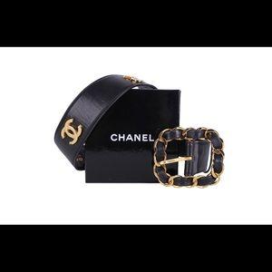 CHANEL rare vintage black leather statement belt.